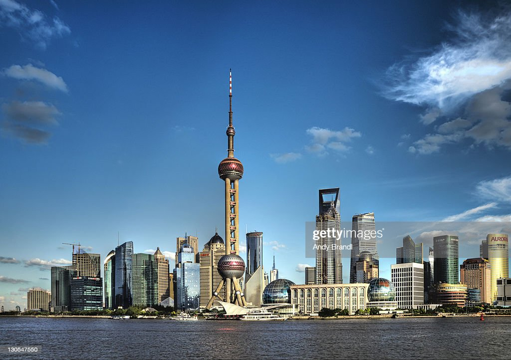 Shanghais oriental pearl tower on sunny day