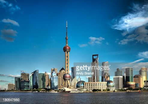 Shanghais oriental pearl tower on sunny day : Stock Photo