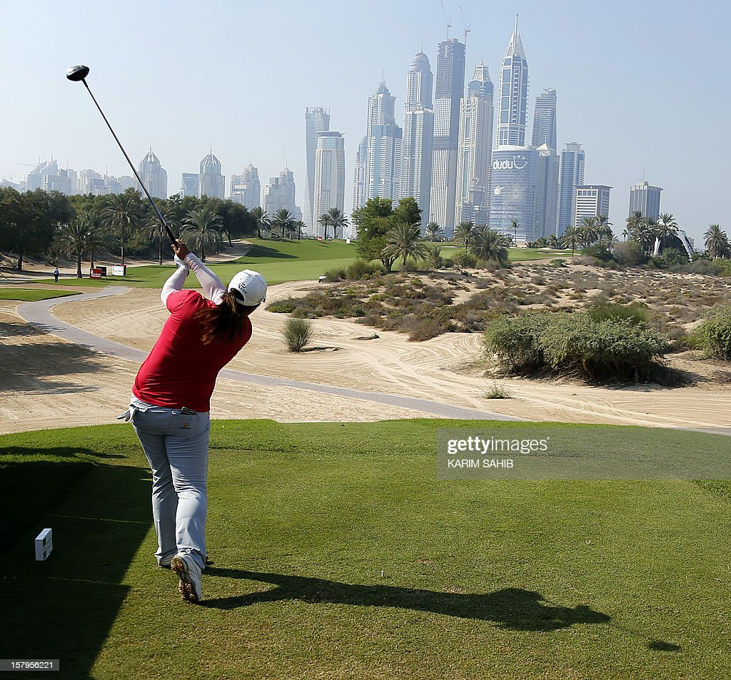 Shangshan Feng of China plays a shot during the final round of the 2012 Dubai Ladies Masters Golf on December 8, 2012 in the Gulf emirate of Dubai.