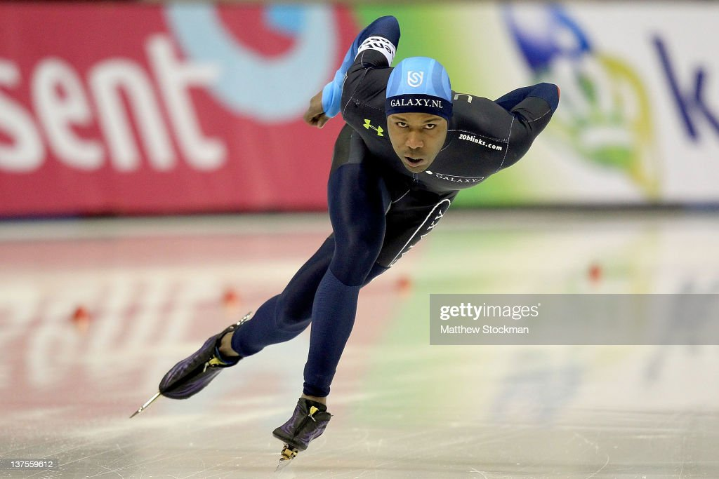 <a gi-track='captionPersonalityLinkClicked' href=/galleries/search?phrase=Shani+Davis&family=editorial&specificpeople=225183 ng-click='$event.stopPropagation()'>Shani Davis</a> competes in the 1,000 meter race during the Essent ISU World Cup Speed Skating at the Utah Olympic Oval on January 22, 2012 in Salt Lake City, Utah. Davis won the 1000 meter event.