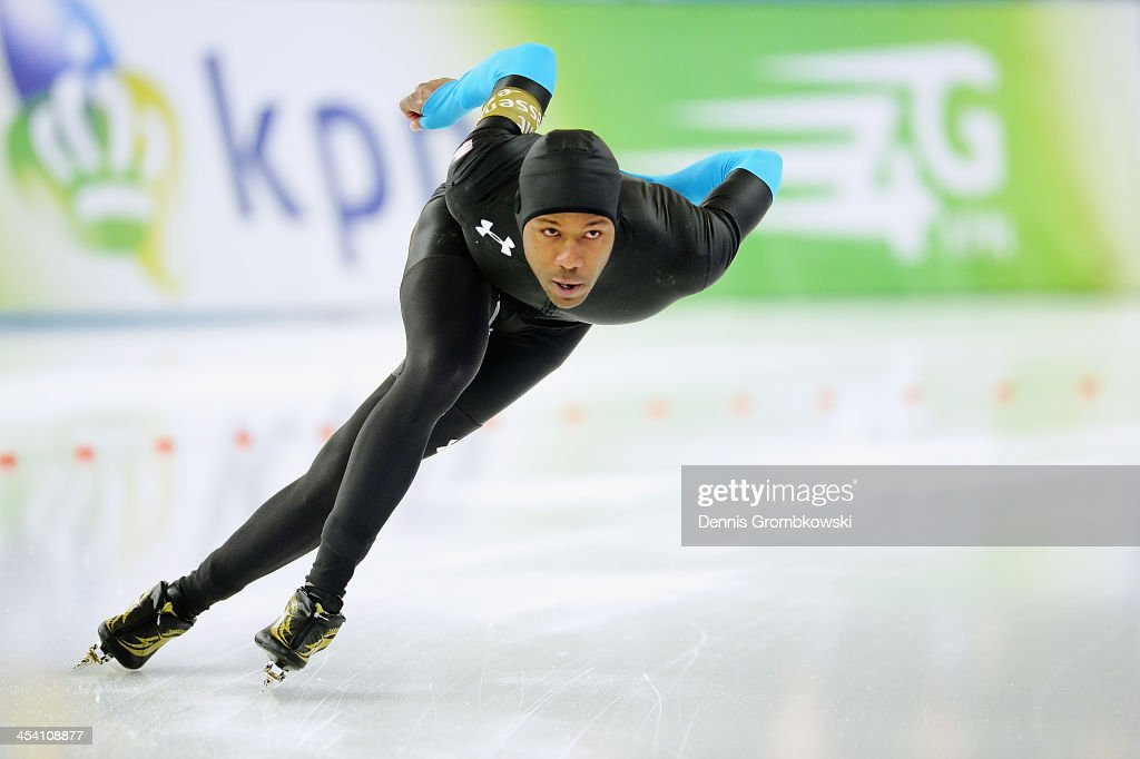 <a gi-track='captionPersonalityLinkClicked' href=/galleries/search?phrase=Shani+Davis&family=editorial&specificpeople=225183 ng-click='$event.stopPropagation()'>Shani Davis</a> of the United States competes in the Men's Division A 1000m race on Day 2 of the Essent ISU World Cup on December 7, 2013 in Berlin, Germany.