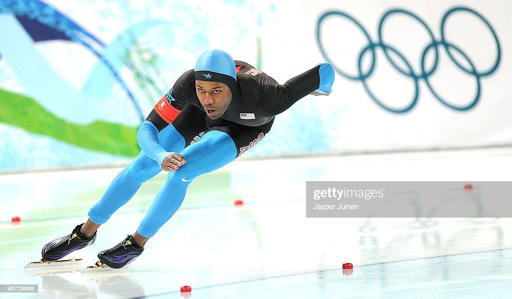 Shani Davis of The United States competes in the men's speed skating 500 m final on day 4 of the Vancouver 2010 Winter Olympics at Richmond Olympic...