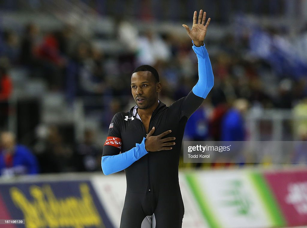 <a gi-track='captionPersonalityLinkClicked' href=/galleries/search?phrase=Shani+Davis&family=editorial&specificpeople=225183 ng-click='$event.stopPropagation()'>Shani Davis</a> of the U.S. reacts to winning the men's 1000 meter race during the ISU World Cup Speed Skating event November 9, 2013 in Calgary, Alberta, Canada.