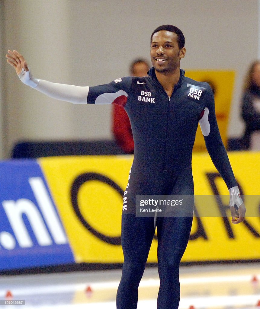 Shani Davis of the USA celebrates his victory in the Mens 1000 meters at the 2007 ISU World Single Distance Speed Skating Championships held at the...