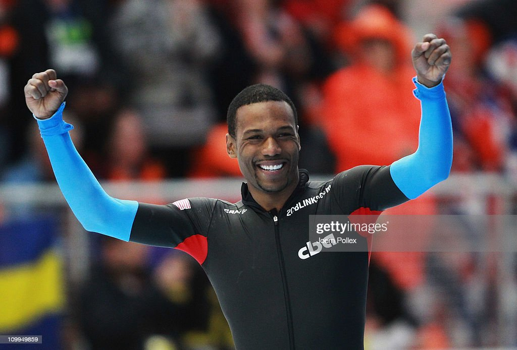 Shani Davis of USA celebrates after winning the 1000 m heats during Day 2 of the Essent ISU Speed Skating World Cup at the Max Aicher Arena on March...