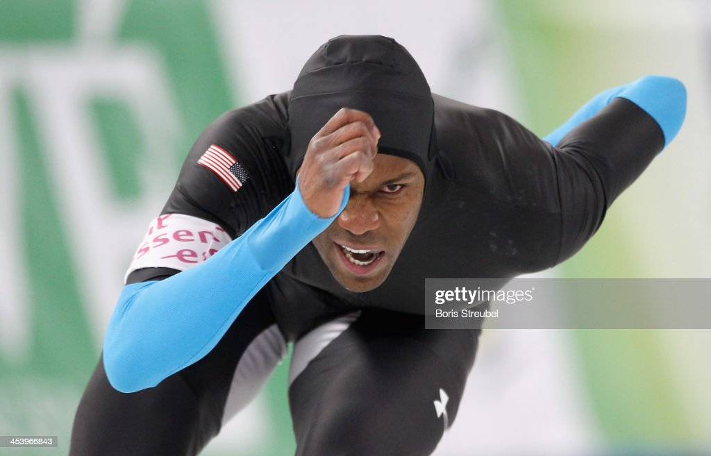 Shani Davis of USA competes in the men's 1500m Division A race during day one of the Essent ISU World Cup Speed Skating on December 6 2013 in Berlin...