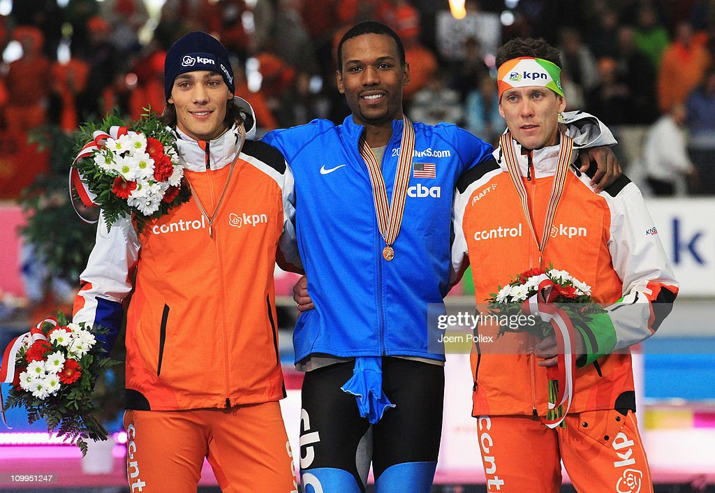 Shani Davis of USA for first place and Kjeld Nuis of Netherland for second place and Stefan Groothuis of Netherland for third place take place on the...