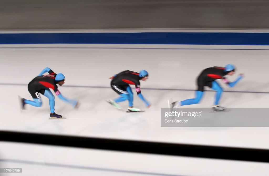 Shani Davis Trevor Marsicano and Jonathan Kuck of USA compete in the men's Team Persuit Division A race during the Essent ISU World Cup Speed Skating...