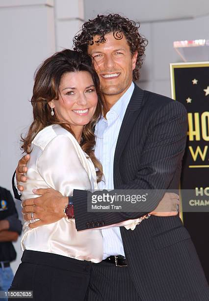 Shania Twain and her husband Frederic Nicolas Thiebaud attend the ceremony honoring her with a Star on the Hollywood Walk of Fame held on June 2 2011...