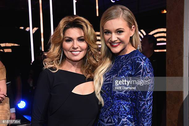 Shania Twain and Kelsea Ballerini pose for a photo during CMT Artists of the Year 2016 on October 19 2016 in Nashville Tennessee