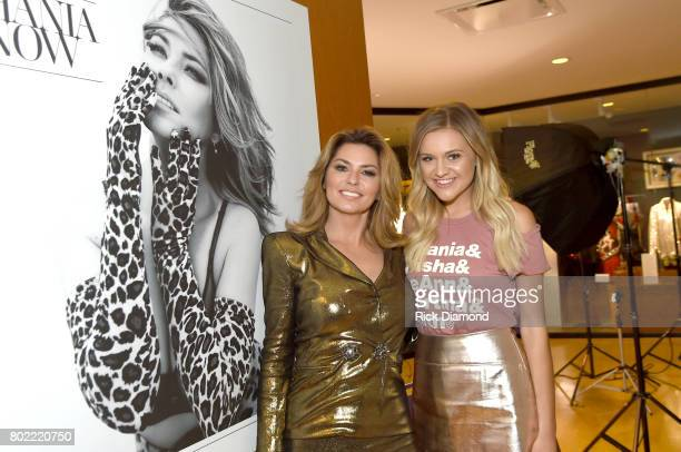 Shania Twain and Kelsea Ballerini view Shania Twain's exhibit opening at Country Music Hall of Fame and Museum on June 27 2017 in Nashville Tennessee