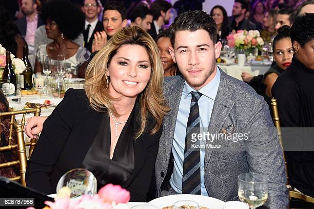 Shania Twain and Nick Jonas attend the Billboard Women in Music 2016 event on December 9 2016 in New York City