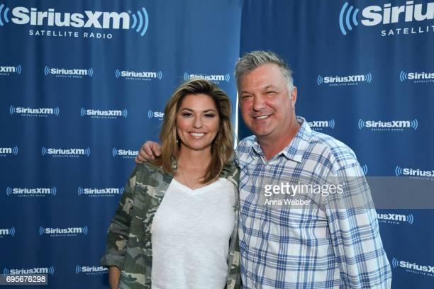Shania Twain and SiriusXM host Buzz Brainard Visit The SiriusXM Studios In Nashville on June 13 2017 in Nashville Tennessee