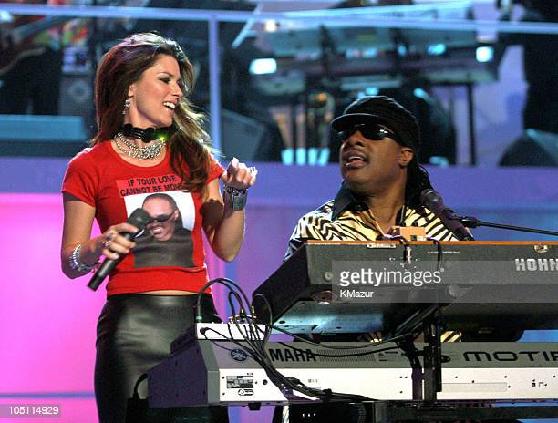 Shania Twain and Stevie Wonder during VH1 Divas Duets A Concert to Benefit the VH1 Save the Music Foundation Show at MGM Grand Garden Arena in Las...