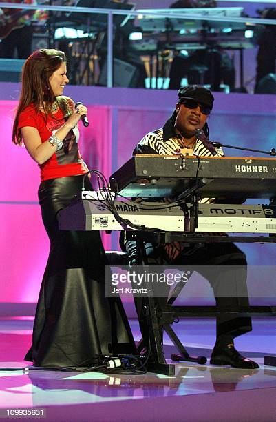 Shania Twain and Stevie Wonder during VH1 Divas Duets A Concert to Benefit the VH1 Save the Music Foundation Show at MGM Grand in Las Vegas Nevada...