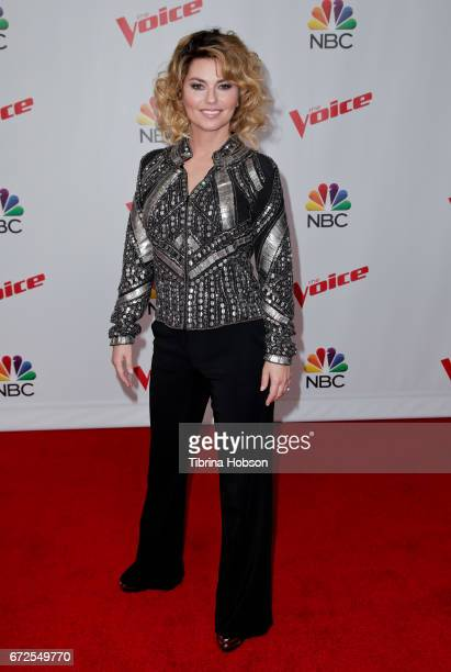 Shania Twain attends NBC's 'The Voice' Season 12' live top 12 performances event at Universal Studios Hollywood on April 24 2017 in Universal City...