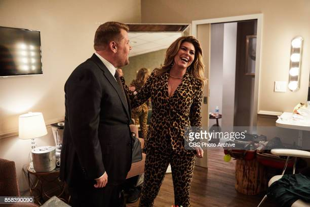 Shania Twain chats in the green room with James Corden during 'The Late Late Show with James Corden' Tuesday October 3 2017 On The CBS Television...