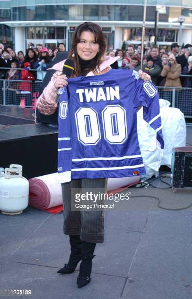 Shania Twain during Shania Twain Promotes her Greatest Hits CD on 'Canada AM' at Dundas Square in Toronto Ontario Canada
