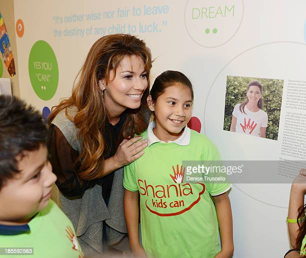 Shania Twain during the launch of Shania Kids Can Foundation participation at Tom Williams Elementary School on October 21 2013 in Las Vegas Nevada