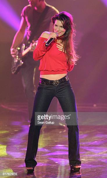 Shania Twain performs at the Bambi Awards 2004 at the Theater im Hafen on November 18 2004 in Hamburg Germany