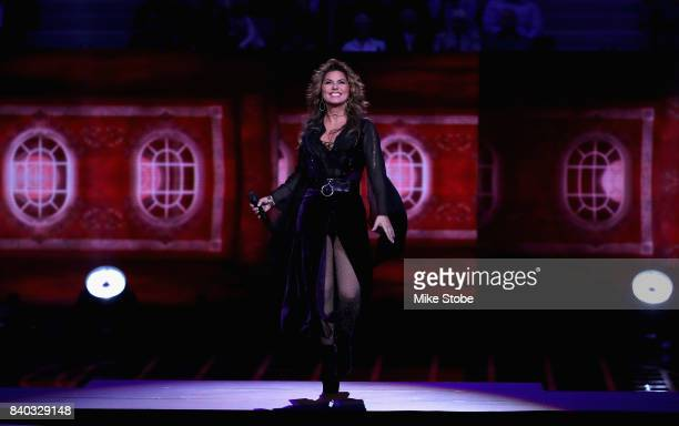 Shania Twain performs during the opening ceremony on Day One during the 2017 US Open at the USTA Billie Jean King National Tennis Center on August 28...