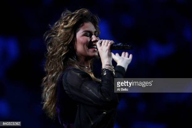 Shania Twain performs during the opening ceremony on Day One of the 2017 US Open at the USTA Billie Jean King National Tennis Center on August 28...
