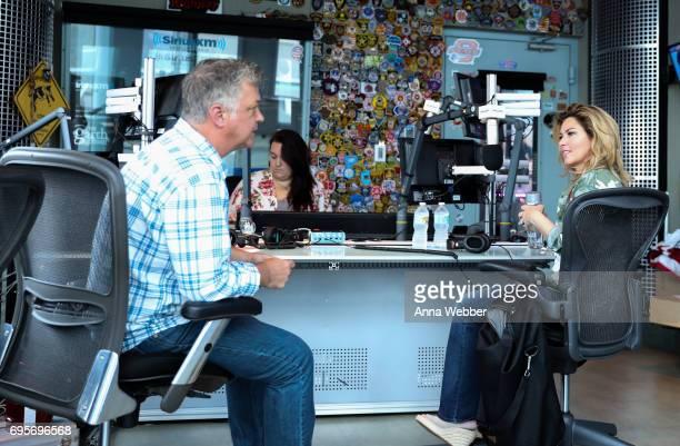 Shania Twain visits SiriusXM host Buzz Brainard at The SiriusXM Studios In Nashville on June 13 2017 in Nashville Tennessee