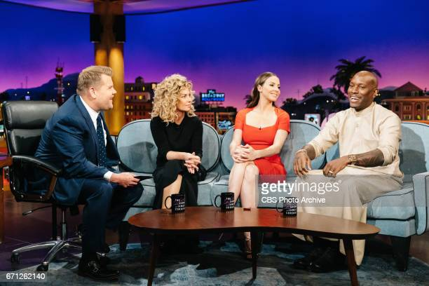 Shania Twain Whitney Cummings and Tyrese Gibson chat with James Corden during 'The Late Late Show with James Corden' Tuesday April 18 2017 On The CBS...