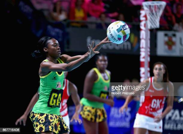 Shanice Beckford of Jamaica passes the ball during the Fast5 World Series Netball match between Jamaica and England at Hisense Arena on October 29...