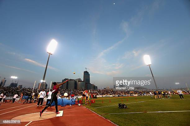 Shanice Craft of Germany competes in the women's shot put during the 2014 Doha IAAF Diamond League at Qatar Sports Club on May 9 2014 in Doha Qatar