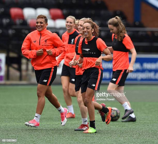 Shanice Van De Sanden and Jess Clarke of Liverpool Ladies during a training session at Select Security Stadium on June 2 2017 in Widnes England