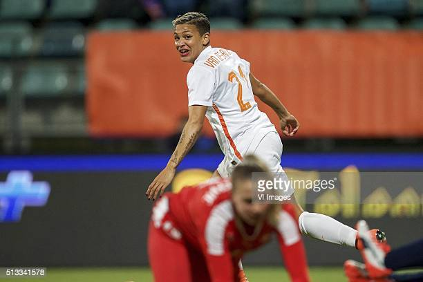 Shanice van de Sanden of Holland Ana Maria Crnogorcevic of Switzerland during the 2016 UEFA Women's Olympic Qualifying Tournament match between...