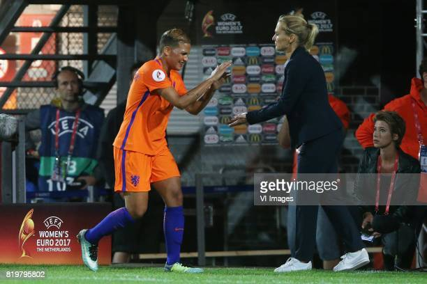 Shanice van de Sanden of Holland Women coach Sarina Wiegman of Holland Women during the UEFA WEURO 2017 Group A group stage match between The...