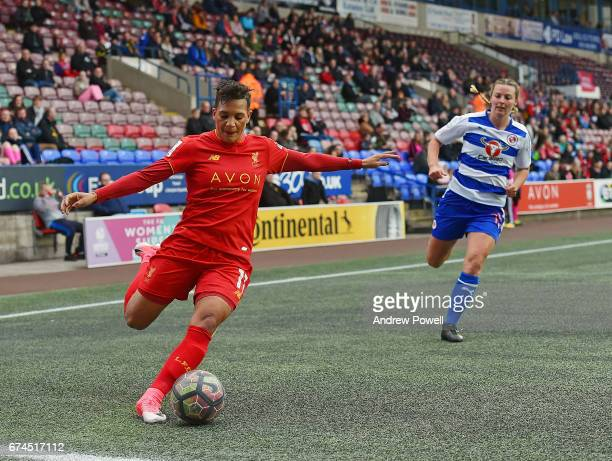 Shanice Van De Sanden of Liverpool Ladies competes with Anna Green of Reading FC Women during a Women's Super League match between Liverpool Ladies...