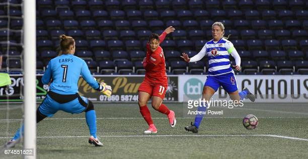 Shanice Van De Sanden of Liverpool Ladies competes with Kirsty McGee of Reading FC Women during a Women's Super League match between Liverpool Ladies...