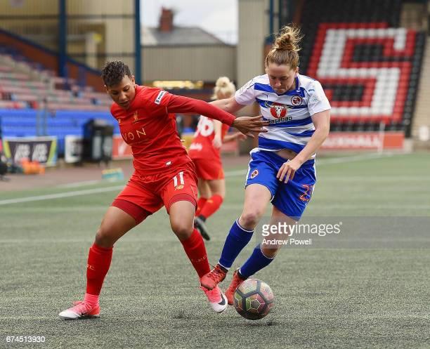 Shanice Van De Sanden of Liverpool Ladies competes with Rachel Rowe of Reading FC Women during a Women's Super League match between Liverpool Ladies...