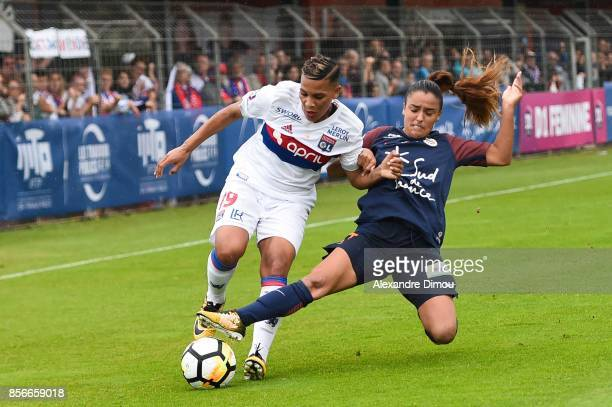 Shanice Van De Sanden of Lyon and Sakina Karchaoui of Montpellier during the women's Division 1 match between Montpellier and Lyon on September 30...