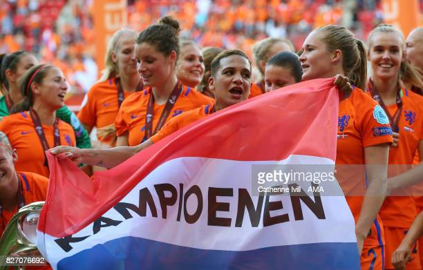 Shanice Van de Sanden of Netherlands Women celebrates after the UEFA Women's Euro 2017 final match between Denmark and Netherlands at De Grolsch...