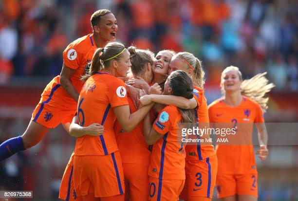 Shanice Van de Sanden of Netherlands Women jumps up as Lieke Martens of Netherlands Women celebrates after scoring to make it 21 with her team mates...