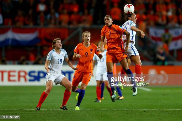 Shanice van de Sanden of the Netherlands and Fara Williams of England go up for a header during the UEFA Women's Euro 2017 Second Semi Final match...