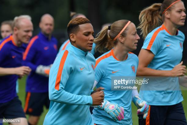 Shanice van de Sanden of The Netherlands attends a training session in the eve of the UEFA Women's Euro 2017 football tournament final match against...