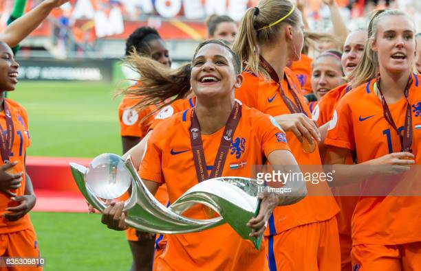 Shanice van de Sanden of the Netherlands celebrate with the trophy after the UEFA Women's Euro 2017 final match between Denmark and Netherlands at De...