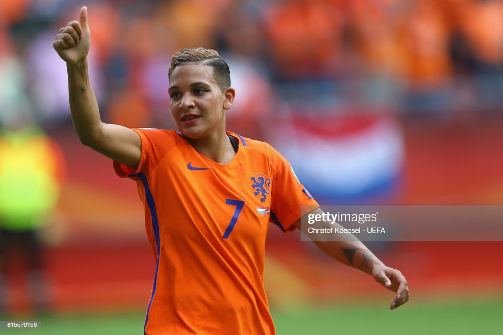 Shanice van de Sanden of the Netherlands celebrates after winning 1-0 the UEFA Women's Euro 2017 Group A match between Netherlands and Norway at Stadion Galgenwaard on July 16, 2017 in Utrecht, Netherlands.