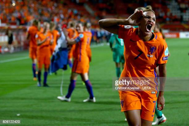 Shanice van de Sanden of the Netherlands celebrates after winning 30 the UEFA Women's Euro 2017 Second Semi Final match between Netherlands and...
