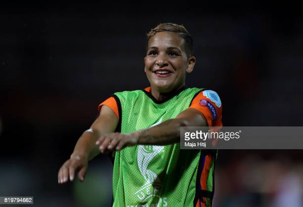 Shanice van de Sanden of the Netherlands celebrates at the final whistle during the UEFA Women's Euro 2017 Group A match between Netherlands and...