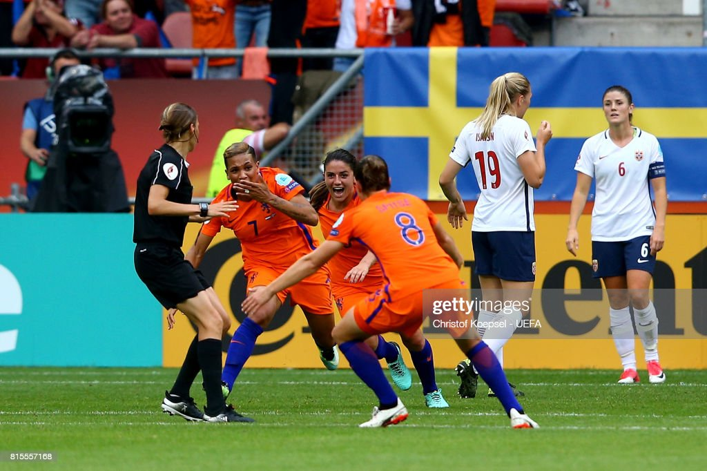 Shanice van de Sanden of the Netherlands (L) celebrates the first goal with her team mates during the UEFA Women's Euro 2017 Group A match between Netherlands and Norway at Stadion Galgenwaard on July 16, 2017 in Utrecht, Netherlands.