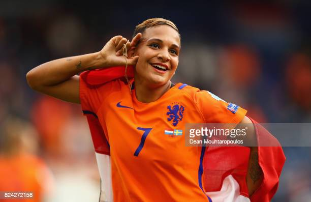 Shanice van de Sanden of the Netherlands celebrates victory during the UEFA Women's Euro 2017 Quarter Final match between Netherlands and Sweden at...