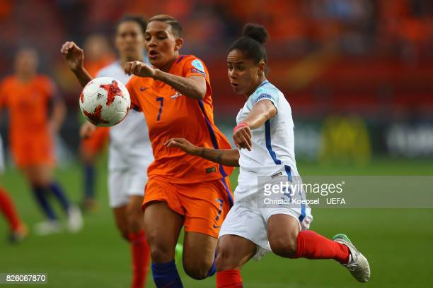 Shanice van de Sanden of the Netherlands challenges Demi Stokes of England during the UEFA Women's Euro 2017 Second Semi Final match between...