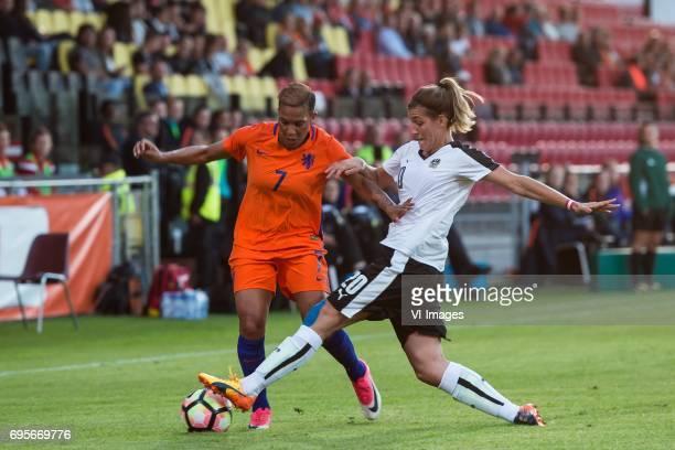 Shanice van de Sanden of the Netherlands Lisa Makas of Austriaduring the friendly match between the women of The Netherlands and Austria at at The...