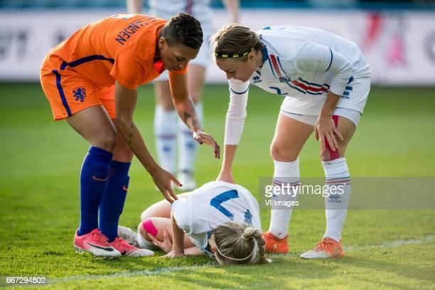 Shanice van de Sanden of the Netherlands Sara Bjork Gunnarsdottir of Iceland Sif Atladottir of Icelandduring the friendly match between the women of...
